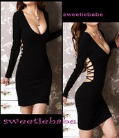 2011 New Fashion-forward V19 V-Neck Backless Clubwear/Cocktail/Party Evening Charming Dress Black