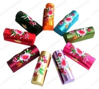 wholesale Lot of 96 pcs CHINA HANDMADE SILK LIPSTICK BOX CASES+Free shipping!