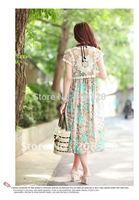 Women's Gorgeous Crochet Hollow Knit Short Sleeve Top Beige/White Color 2012 Hot sale #L010