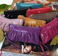 Free shipping women's GENUINE LEATHER wallet, fashion evening bag,clutch/wristlet bag,wallet purse #918-1