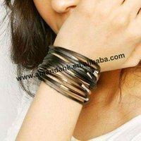 100pcs/lot,wrap around design leather wristband,women's fashion wristband,3 colors available,