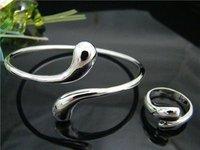Fashion wholesale 925Silver elegant waterdrop bangle ring set