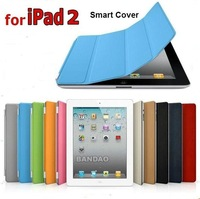 Free Shipping 20pcs/Lot Ultra Slim Micro Fiber Leather Case PU Smart Cover Magnetic Case For iPad 2  Multi color