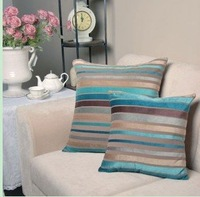 Free shipping 3 pcs/lot  45*45cm cushion cover blue and brown stripe pattern  velvet