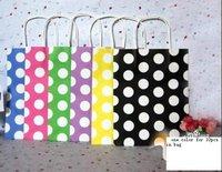 50 pcs fashion paper bag , gift package, garments bag ,polka dot bag 21X13X8cm -free shipping