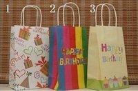 50 pcs fashion paper bag , gift package, garments bag ,happy birthday bag 21X13X8cm -free shipping