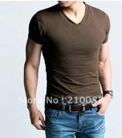 new spring high-elastic lycra cotton men's short sleeve v neck tight t shirt free EXPRESS shipping