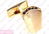 Fashion jewelry stores Designer Cufflinks for Men Freeshipping Austrian crystals Gold Silver Mens Cufflink  tie clip Accessories