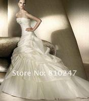 2012 classic new luxury custom silk Bra thin A-line dress trailing wedding