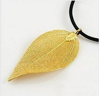 Natural Leaf with 24K pure Gold Plated on its surface.Precious Necklace.