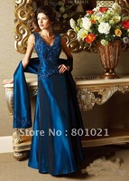Best Seller 2012 Hot Sale A-line V-neck Taffeta Full-length Applique Royal Blue Formal Dress for Women