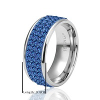 BM036  luxury hot sell 18K white Gold plated beauty blue Crystal round ring
