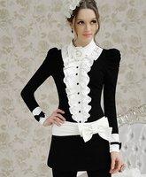 Женская юбка S-XL new fashion women's Black Slim inlaid lace bow strap half skirt moq 1pc #10856
