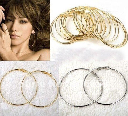 Lowest price 2012 hot 400pcs Basketball Wives Inspired Earrings Hoop Accessories 50/60/70/80mm(China (Mainland))