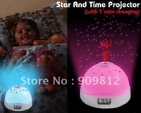 Free Shipping Stars Moon projection Clock, Colorful LED Fantasy Projection Alarm Clock, 0.14kg 20pcs/lot