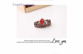 2012 New fashion Vintage copper alloy red crystal crown ring R086 Free shipping stylish ring factory price