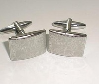 Laser decorative pattern electroplating cufflinks, Men's cuff links