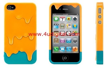 Hard back cover melting ice cream For iPhone 4 4S cell phone back cover skin case,mobile phone case,Free shipping 5 pcs/lot