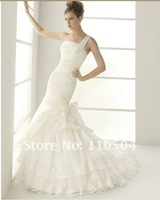W1306 Most popular one shoulder lace multilayer mermaid wedding dress