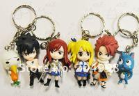 Cute Anime Fairy Tail Key Ring PVC  Figure key chain set Free shipping(6 pcs/set )