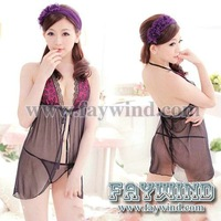 FW2012022314 20sets/lot cheap lace silk wholesale sexy lingerie + G Strings Sexy Women's Lingerie sleepwear set free shipping