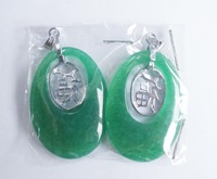 Free shipping!!! wholesale oval  jade with fu pendant/ nature beautiful green jade pendant 50pcs/lot