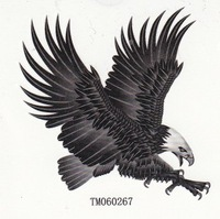 Free shipping wholesales waterproof tattoos sticker black eagle