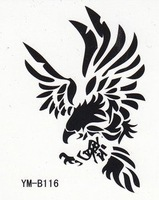 Free shipping wholesales waterproof tattoos sticker cool black totem eagle
