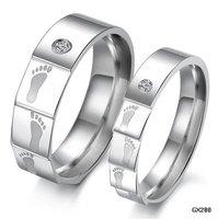 Pair Crystal Footprint Titanium Promise Ring Set Couple Wedding Bands Many Sizes GJ280