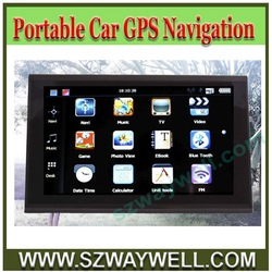 7 inch Portable Car GPS with Bluetooth Touch Screen + 4GB SD Card with map Free!(China (Mainland))