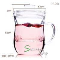 HOT: 300ml glass tea cup,  with inside tea filter, top brand and top quality, perfect office tea cup, free shipping