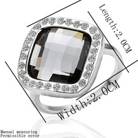 BM073  beauty style 18K white Gold plated square Sparkling Crystal ring