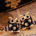 Min. Order $12(Mix Order) Fashion Multicolor Rhinestone Enamel Owl Stud Earrings Ear Pin 1.4cm*1.8cm Free Shipping,S0502