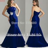 Fashion Strapless Elegant Royal Blue Satin Mermaid Prom Dresses 2012