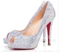 Classique Peep Toe Silver paillette Very Priv Pumps Women's High Heels Shoes