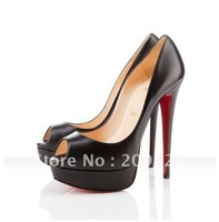 Classique Black Genuine Leather Lady Peep toe 150mm Platform Heels Pump Shoes