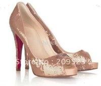 free ship (ems) Classique Peep toe Genuine Paillette Very Priv Pumps Women's High Heels Shoes