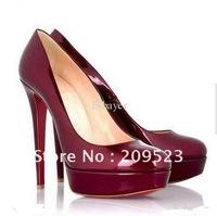Classique New Red Patent Leather Bianca Pumps Platform Women's High Heels Shoes