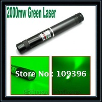 1000m 2000mw Waterproof Adjustable Focus Green Laser Pointer Flashlight (Coffee) Free shipping