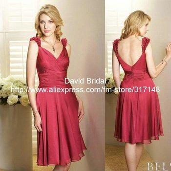 New Design DA020 Country Style A Line Short Bridesmaid Dress Knee Length Chiffon