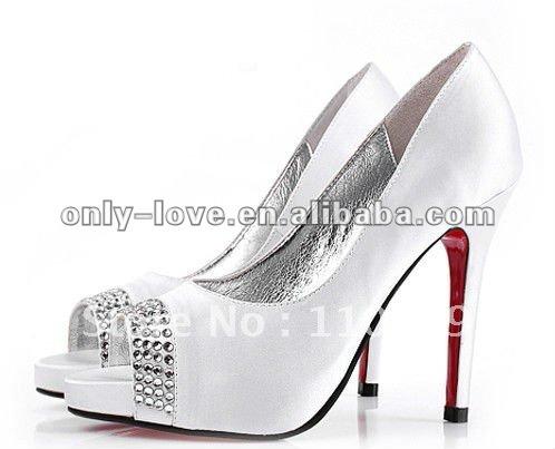 BS042 super quality pee toe white bridal wedding shoes(China (Mainland))