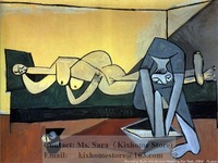 Museum quality Pablo Picasso-Reclining Nude and woman washing her feet hand painted only Oil Paintings Reproduction On Canvas