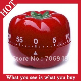 Free Shipping! 50pcs Red Plastic Tomato Timer Creative Kitchen Cooking Tools Mechanical Dial Timer-- KCP14 Wholesale & Retail(China (Mainland))