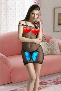 New arrival Free Shipping Sexy Fad credibility sexy clothes three straps transparent network(93020B) sexy underwear