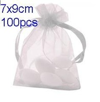 Free Shipping 100pcs/lot 7x9cm Solid Color Organza Bags Small White Organza Bags