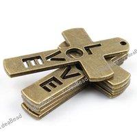 Wholesale 10pcs New Arrival Antique Bronze charm cross shape pendant  Fit Necklaces, handmadke Crafts 140936