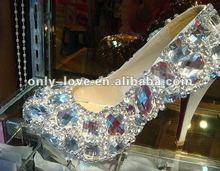 BS066 custom make rhinestones swaroski crystals high heel shoes,stage evening shoes, bridal shoes(China (Mainland))