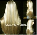 Fashion long blonde straight human made hair wig   Free shipping