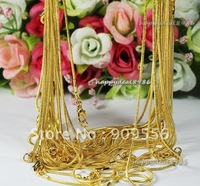 "Free shipping! wholesale! High Quality Gold Plated snake chain necklace 24"",20pcs/lot"