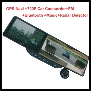 16G HD720 5'' Bluetooth Rearview Mirror Windows CE GPS Navigator free map vehicel DVR camcorder car black box recording camera
